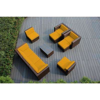 Mixed Brown 10-Piece Wicker Patio Seating Set with Sunbrella Sunflower Yellow Cushions