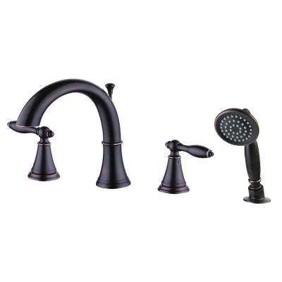 Winchester 2-Handle Deck-Mount Roman Tub Faucet with Handheld Shower Head in Oil-Rubbed Bronze