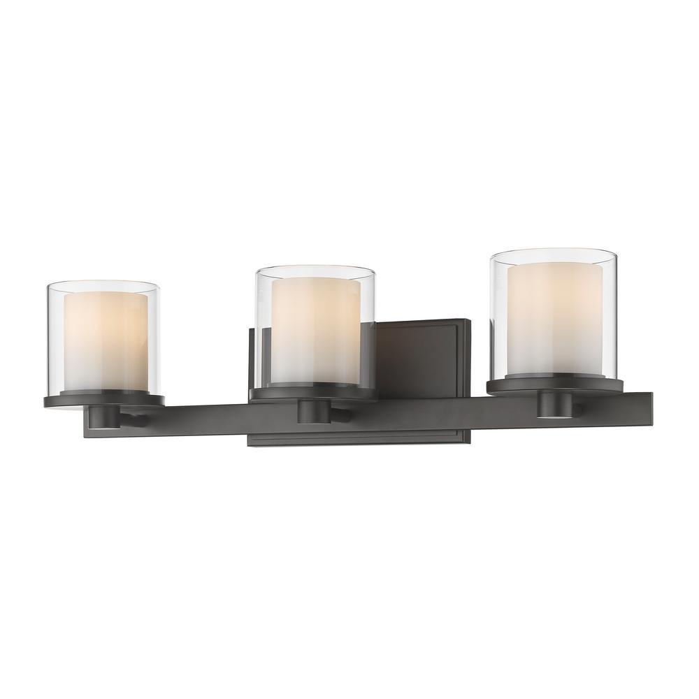 Mira 3-Light Bronze Bath Light with Clear and Matte Opal Glass