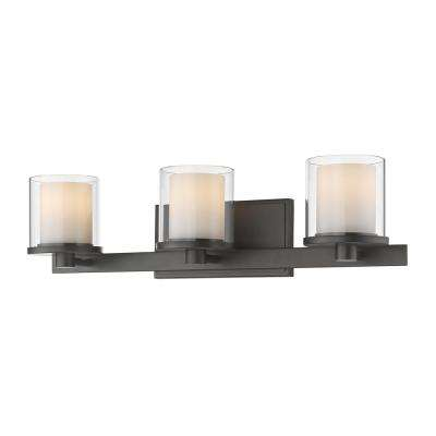 Mira 3-Light Bronze Bath Light with Clear and Matte Opal Glass Shade