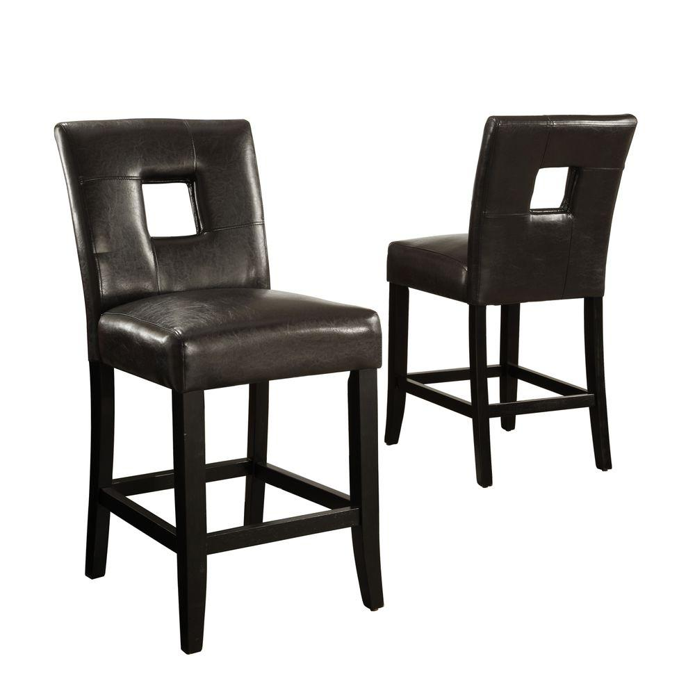 Home Decorators Collection 24 in. H Dark Brown Counter-Height Chairs (Set of 2)-DISCONTINUED