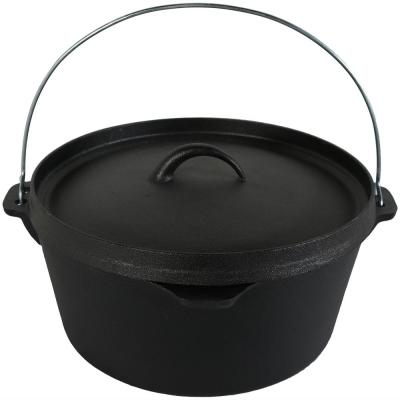 Cast Iron 8 qt. Round Cast Iron Dutch Oven in Black with Lid