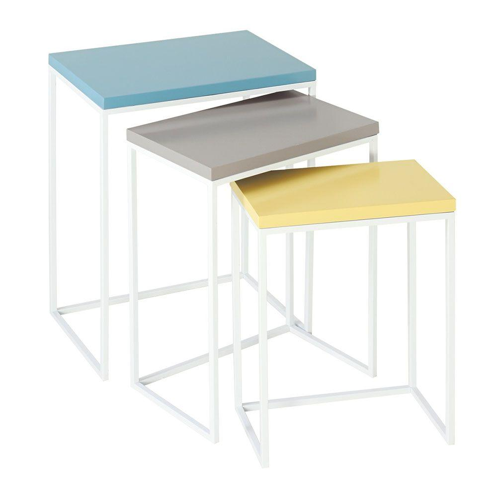 Filament Design Sundry Nesting Wood Table in Multi Colored (Set of 3)