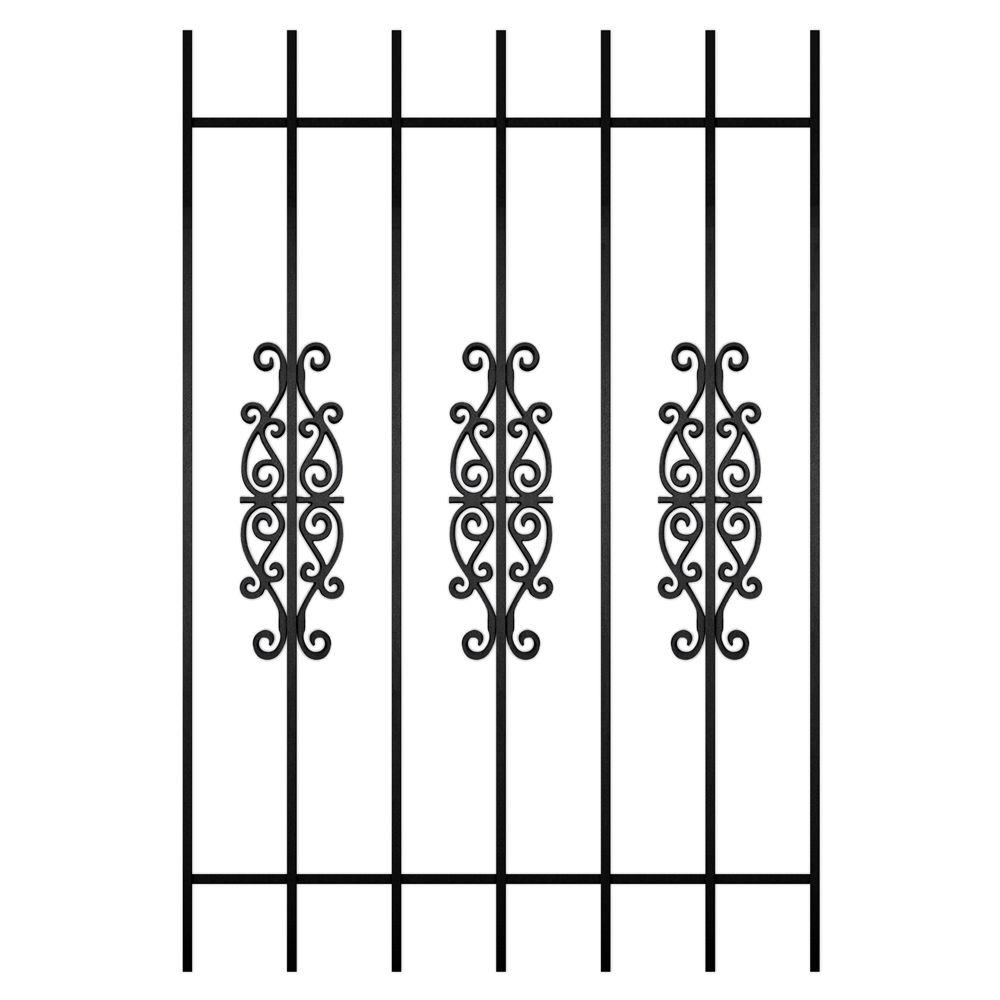 Unique Home Designs Victorian Scrolls 36 in. x 54 in. Black 7-Bar Window Guard-DISCONTINUED