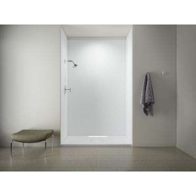 Archer 60 in. x 36 in. Single Threshold Shower Base with Choreograph 96 in. 5-Piece Shower Wall Surround in White