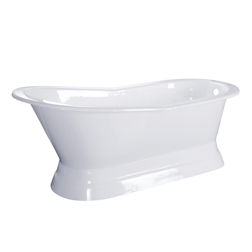 67 in. Cast Iron Double Slipper Pedestal Flatbottom Bath Tub in White