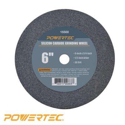 6 in. x 3/4 in. x 1/2 in. 36-Grit Silicon Carbide Grinding Wheel