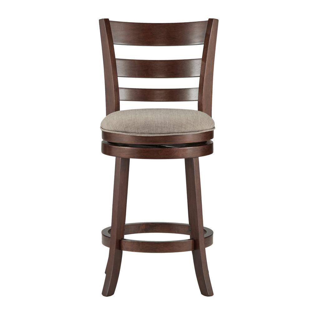 24 in. Armistead Cherry Swivel Cushioned Bar Stool