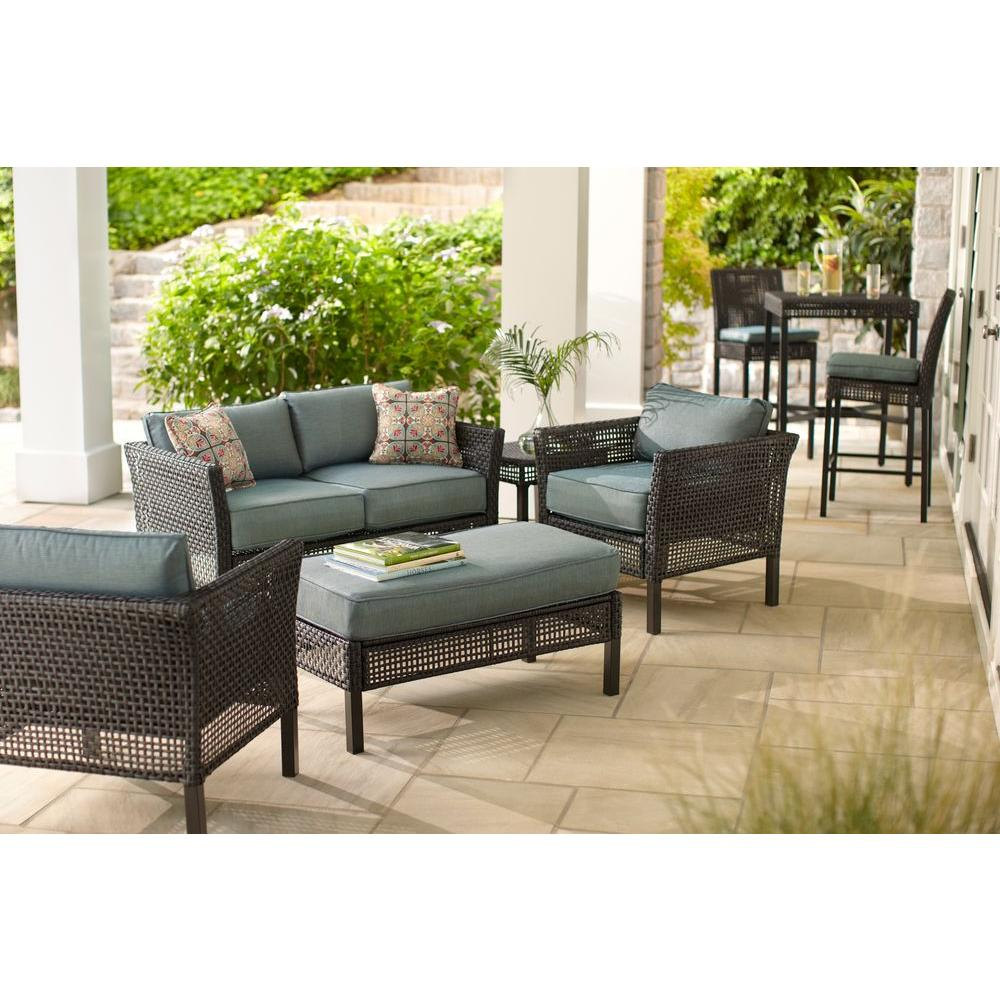 Hampton Bay Fenton 4 Piece Wicker Outdoor Patio Seating Set With Peacock  Java Patio Cushion D9131 4PCKD   The Home Depot Part 5
