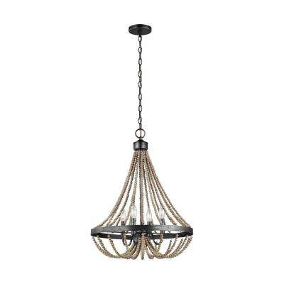 Oglesby 20 in. W 4-Light Stardust Chandelier with Washed Pine Beads