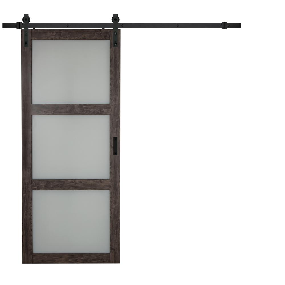 Iron Age Gray Mdf Frosted 3 Lite Design Sliding Barn Door With Rustic Hardware Kit