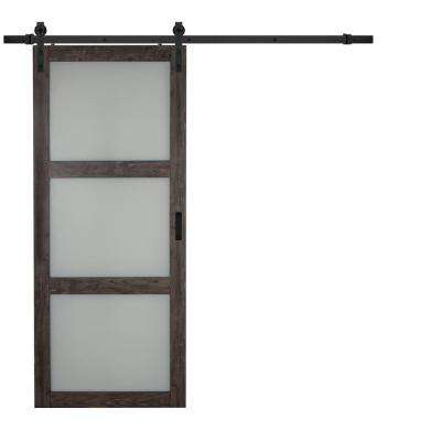 36 in. x 84 in. Iron Age Gray MDF Frosted 3 Lite Design Barn Door with Rustic Sliding Door Hardware Kit