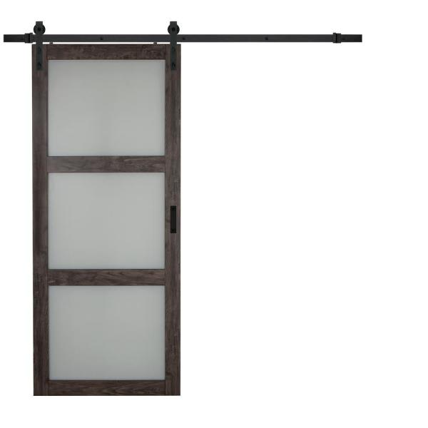 36 in. x 84 in. Iron Age Gray MDF Frosted 3 Lite Design Sliding Barn Door with Rustic Hardware Kit