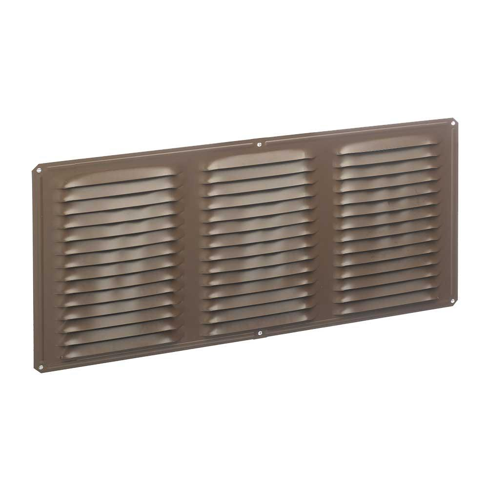 16 in. x 8 in. Aluminum Louvered Soffit Vent in Brown