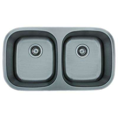 The Chefs Series Undermount Stainless Steel 32 in. 50/50 Double Bowl Kitchen Sink