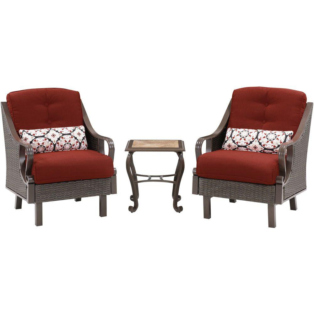 Hanover Ventura 3-Piece All-Weather Wicker Patio Chat Set...