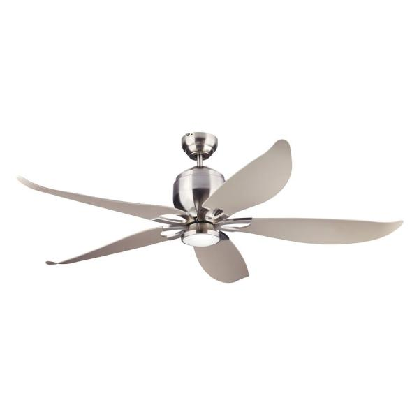 Lily 56 in. Integrated LED Indoor/Outdoor Brushed Steel Ceiling Fan with Silver Blades, DC Motor and Remote Control