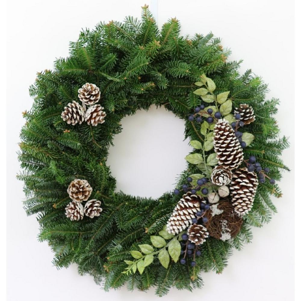 24 in. Fresh Christmas Blueberry Fraser Fir Evergreen Wreath