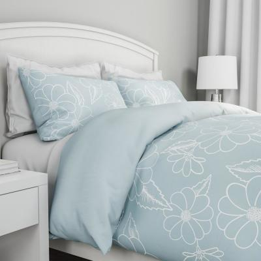 3-Piece Jardin Floral Design Full/Queen Hypoallergenic Comforter Set