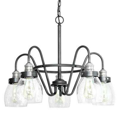 Crofton Collection 5-light Rustic Pewter Chandelier with Brushed Nickel Accents and Clear Seeded Glass