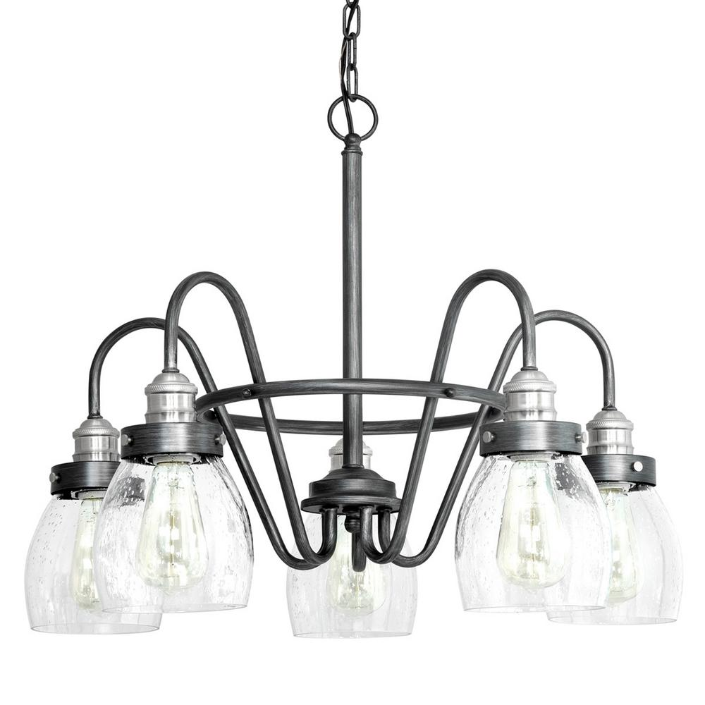 Progress Lighting Crofton 5 Light Rustic Pewter Chandelier With Brushed Nickel Accents And Clear Seeded Gl