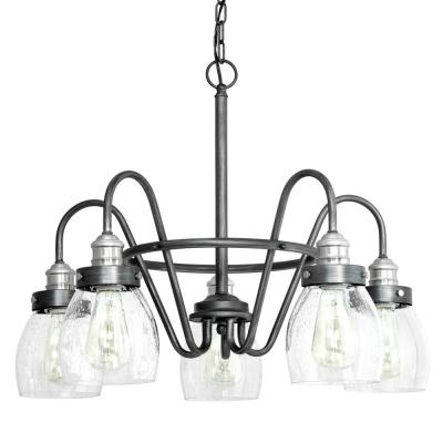 Crofton 5-Light Rustic Pewter Chandelier with Brushed Nickel Accents and Clear Seeded Glass