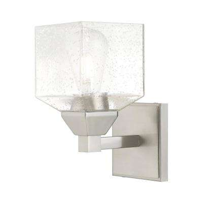 Aragon 4.75 in. Brushed Nickel Sconce with Clear Seeded Glass Shade