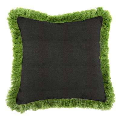 Sunbrella Spectrum Carbon Square Outdoor Throw Pillow with Gingko Fringe