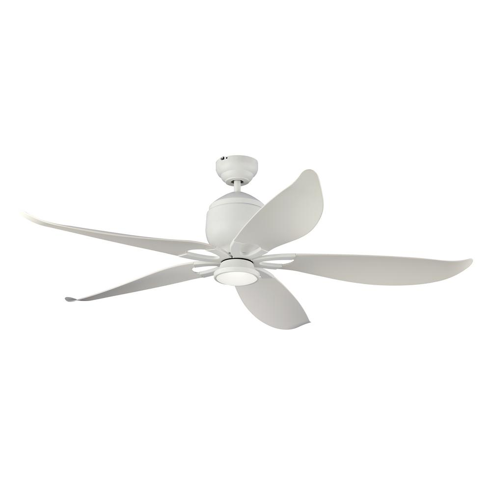 Monte Carlo Lily 56 in. LED Indoor/Outdoor Matte White Ceiling Fan with Light Kit and Remote Control