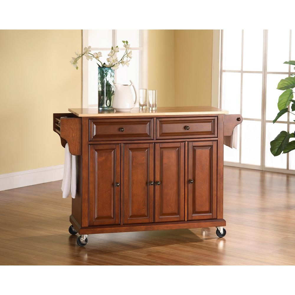 Crosley Cherry Kitchen Cart With Natural Wood Top