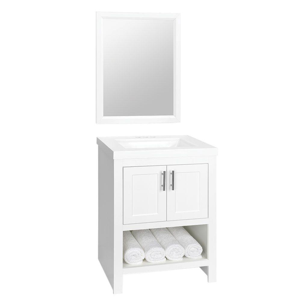 W Bath Vanity In White With Cultured Marble Vanity Top