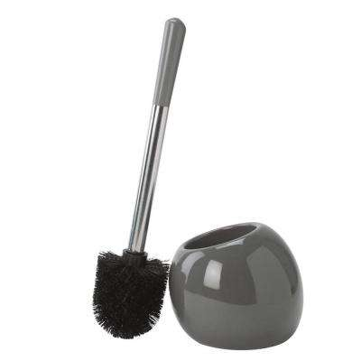 14 in. Ceramic Dome Stainless Steel Toilet Brush and Holder in Grey