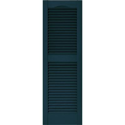15 in. x 48 in. Louvered Vinyl Exterior Shutters Pair in #166 Midnight Blue