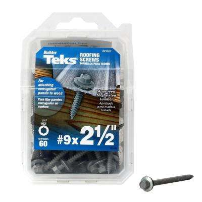 #9 x 2-1/2 in. Hex-Washer-Head Sharp Point Roofing Screws with Washer (60-per Pack)