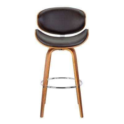 Solvang 26 in. Brown Faux Leather with Walnut Wood Mid-Century Swivel Counter Height Barstool