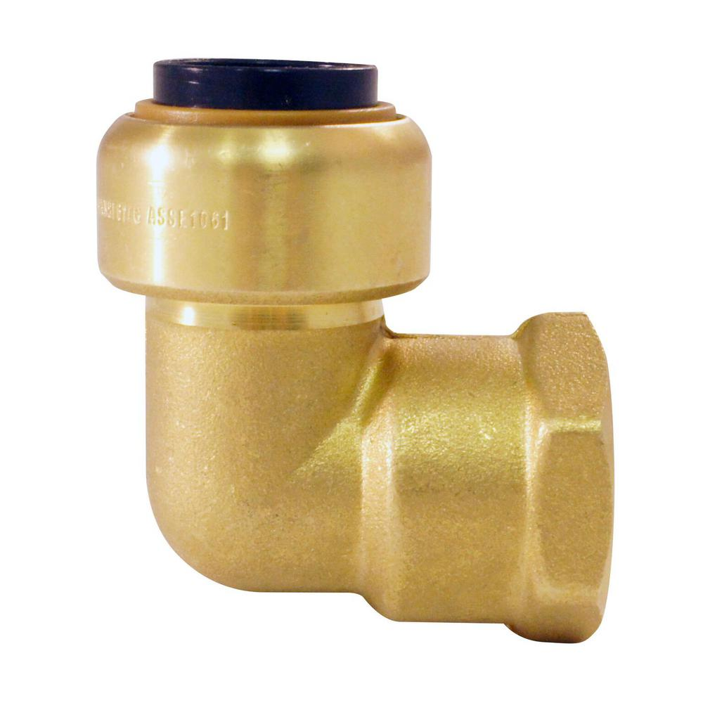 Tectite 1/2 in. Brass Push-To-Connect x 1/2 in. Female Pipe Thread 90 Degree Elbow