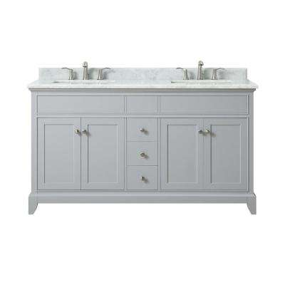 Aurora 61 in. W x 22 in. D x 34.5 in. H Vanity in Light Gray with Marble Vanity Top in Carrera White with Basin