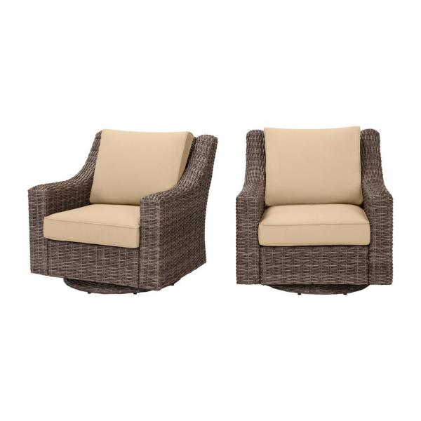 Rock Cliff Brown Wicker Outdoor Patio Swivel Rocking Chair with Sunbrella Beige Tan Cushions (2-Pack)