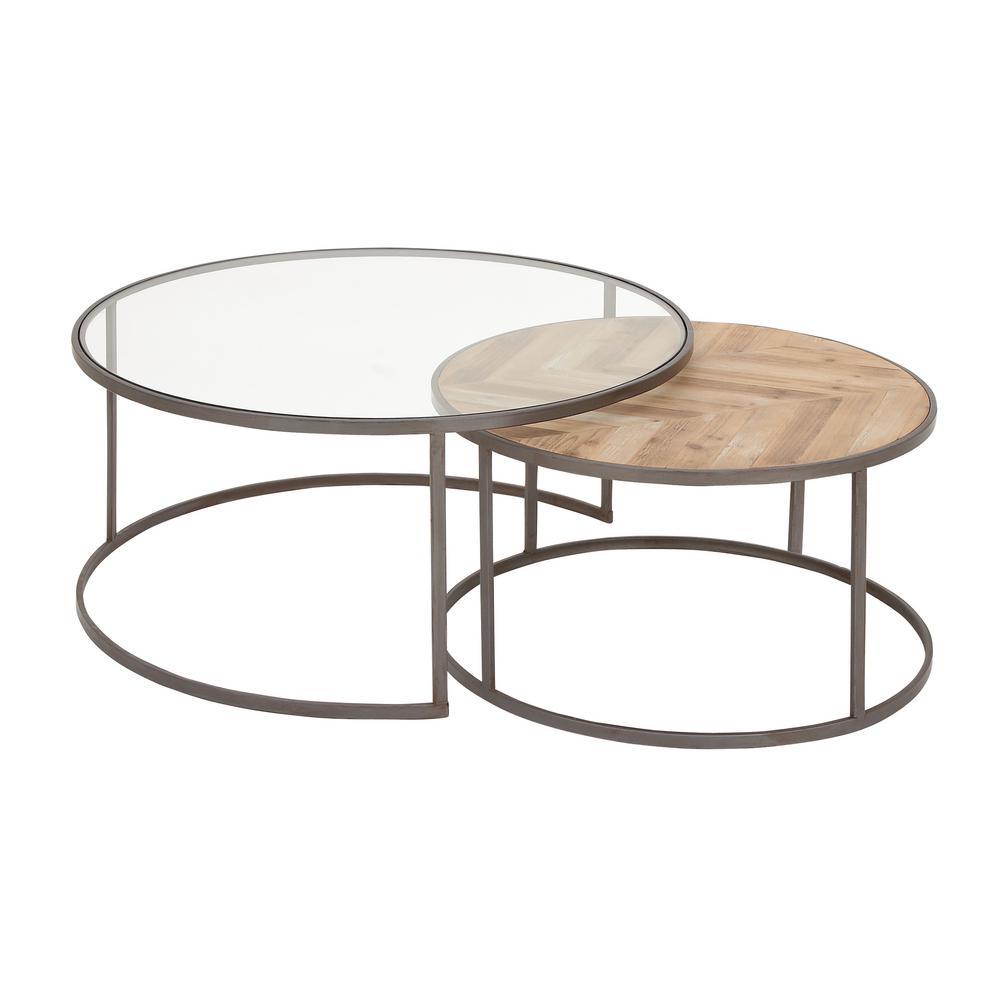 Light Gray and Light Brown Nesting Herringbone Coffee Tables (Set of 2)