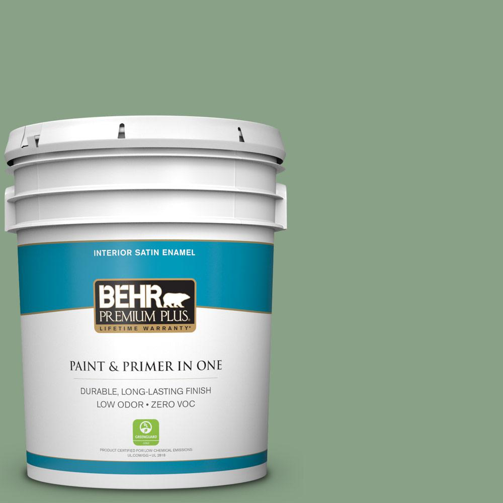 BEHR Premium Plus 5-gal. #S400-5 Gallery Green Satin Enamel Interior Paint