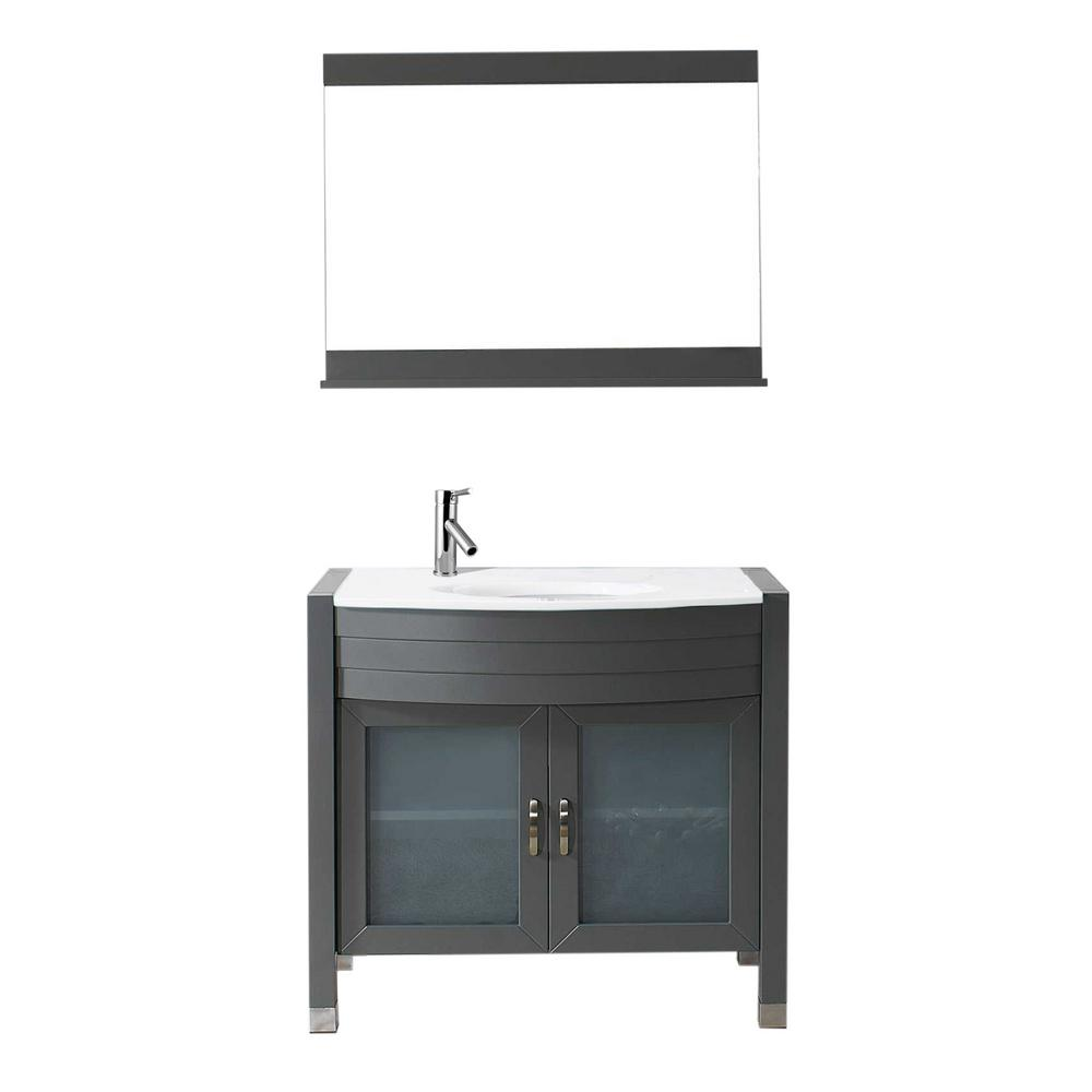 W Bath Vanity In Gray With Stone Top White Round Basin And Mirror Faucet