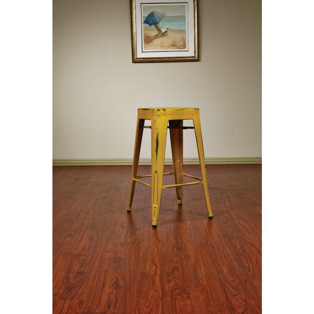 Bristow 26.25 in. Antique Yellow with Blue Specks Bar Stool (Set