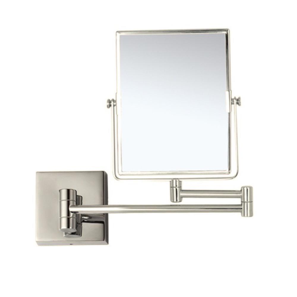 Nameeks Glimmer 6.3 in. x 8.5 in. Wall Mounted LED 3x Rectangle Makeup Mirror in Satin Nickel Finish