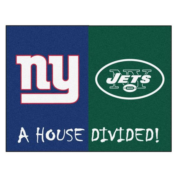 NFL Giants/Jets Navy House Divided 3 ft. x 4 ft. Area Rug