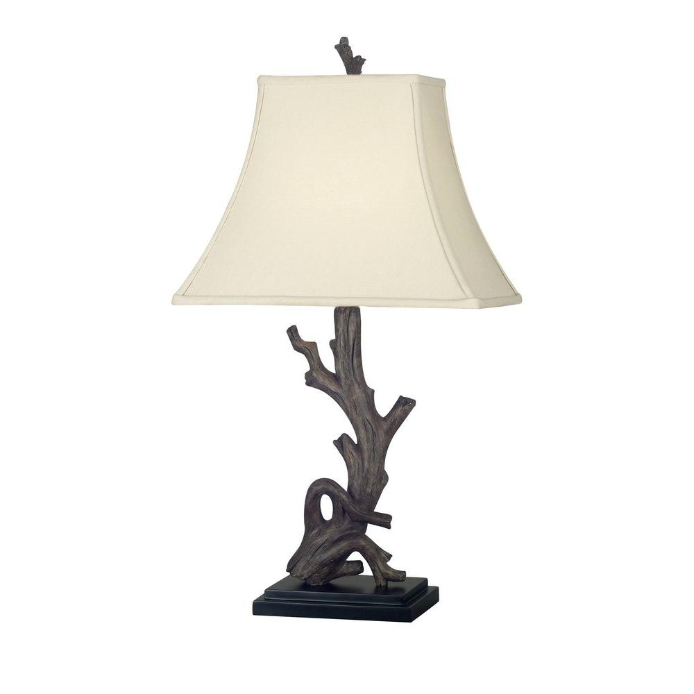kenroy home drift 25 in wood grain table lamp 21049wdg the home depot. Black Bedroom Furniture Sets. Home Design Ideas
