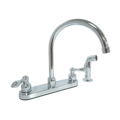Dominion 2-Handle Standard Kitchen Faucet with Side Sprayer in Chrome