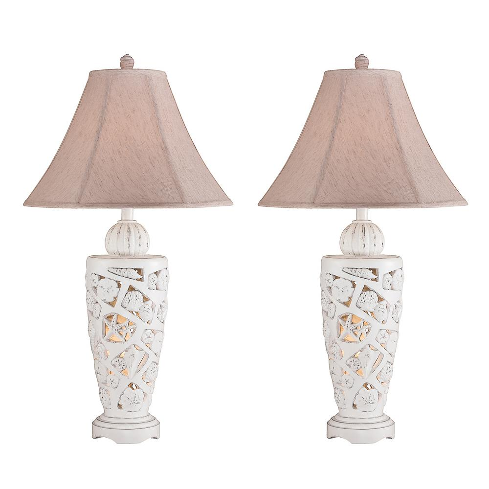 31 in. Cottage White Indoor Table Lamp Set