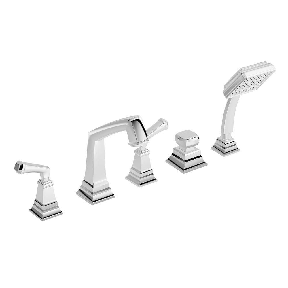 null Oxford 2-Handle Deck-Mount Roman Tub Faucet with Hand Shower in Chrome