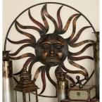 36 in. Global Inspired Bronze Finish Celestial Sun Iron Wall Decor