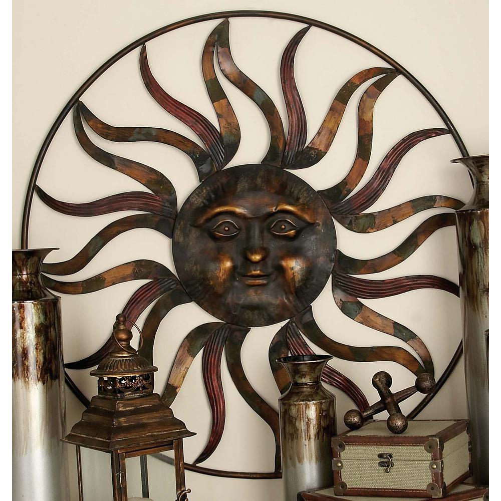 36 In Global Inspired Bronze Finish Celestial Sun Iron Wall Decor